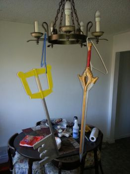 keyblade and fire emblem sword by Yugaraa
