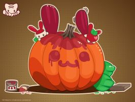 The Great Apple Pumpkin Wall by lafhaha