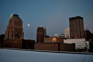 Moonsetting Cleveland, Ohio by TomKilbane