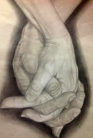 Hands Charcoal Drawing by 565mae10