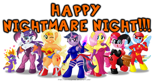 Anthro Ponies on Nightmare Night by AleximusPrime