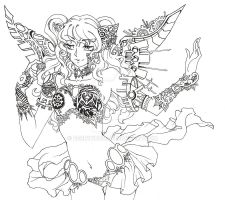 steampunk fairy lineart by BerryKuro