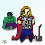 Chibi Thor and Hulk by FrozenDreamer
