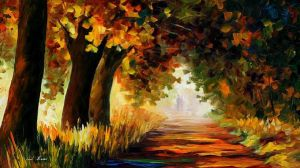 Under The Arch Of Autumn by Leonid Afremov by Leonidafremov