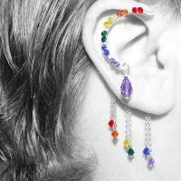 Rainbow Crystal Ear Wrap by YouniquelyChic
