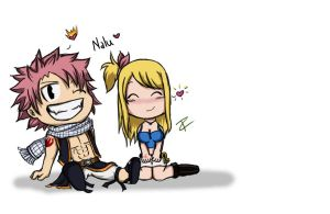 Natsu and Lucy Chibi by FeistyFelioness
