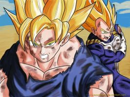 Goku y Vegeta SSJ by CoreasDesing