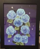 blue roses painting by Milkii-Ways
