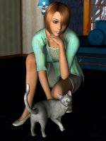 Girl and Cat by Kethaera