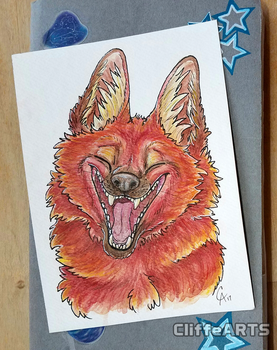 Maned Wolf Watercolor by CliffeArts