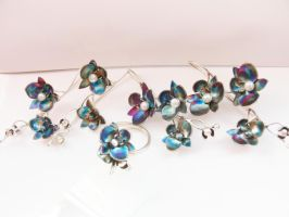 Blue patinated silver orchid by irineja