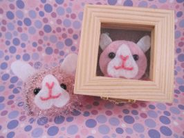 Pink Bunny Keychain and Box by AmiTownCreatures