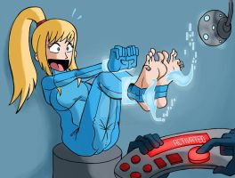Samus in trouble by JinksLizard