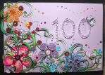 Quilled 100th Birthday card by Quintinious
