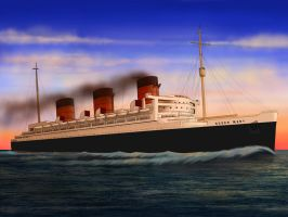 RMS Queen Mary's Smooth Sunset by Danielpandu