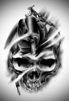 Tattoo Design | Eli's Skull by badfish1111