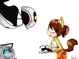 Alex GLaDOS And Wheatley  by Selena-Angel-The-Dog