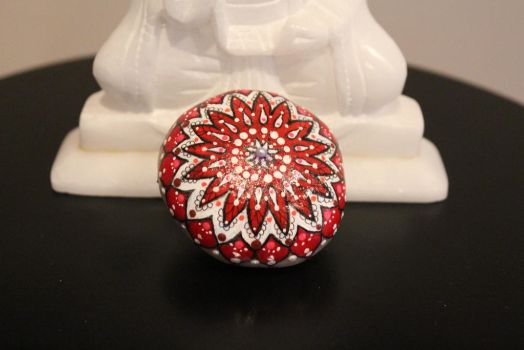 Love Mandala Hand Painted Stone (Etsy) by emmysheartsncrafts