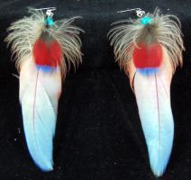 Scarlet Macaw and Hawk Headed Parrot Earrings by PeaceLoveDreamer