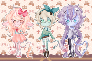 Unicorn Demons Adopts -closed- by PastelBits