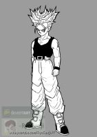 SSj Future Trunks, black and white by RyoGenji
