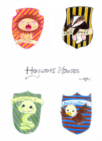 Hogwarts Houses (cutiefied)  (Day 28) by Hedwigs-art