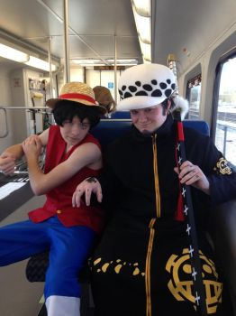 Trafalgar Law and Luffy Cosplay by the-names-boomer