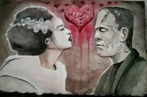 Valentine: Frankenstein and Bride by catbones