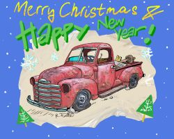 Chevy 47 pick-up Christmas card by Roberto67