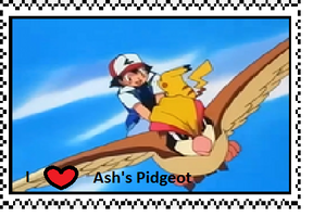 Ash's Pidgeot fan stamp by Fran48
