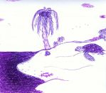Sea Turtle on the Beach - doodling during training by MoonyMina