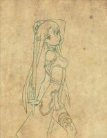 Asuna Sketch by CrimsonWalker