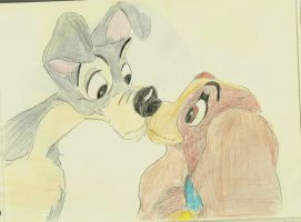 Most beautiful movie kisses: Lady and the Tramp by LeKawetjen