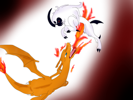 Charizard vs Absol by sORRYbUTnO