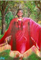 Native Woman in Red by Marybriannemckay