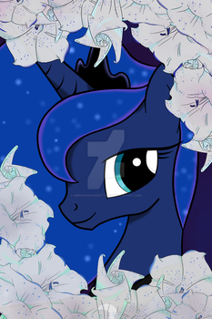 Luna with moon flowers by MermaidSoupButtons
