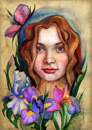 Lady and irises by ~chervona
