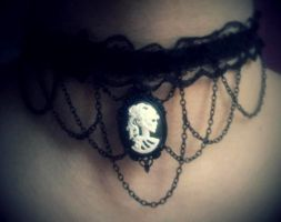 gothic chocker necklace skull lady black chains by GothicLucia