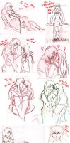 Inuyasha and Kagome Sketch Dump by psycobabble402