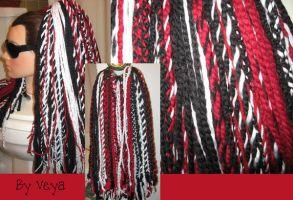 Black, Red and White YarnFalls by dollsyndrome