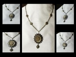 Steampunk Flower Necklace by tanyadavisart