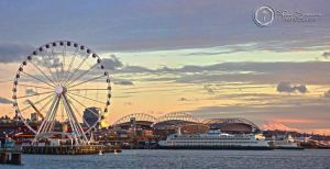 Seattle Great Wheel and Mt Rainier by SilentMobster42
