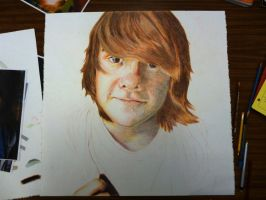 Primary Colored Pencil Self Portait WIP by AJEsimply