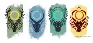Elemental gods Crests by Dygee