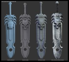 Infernal Sword Retopology Process by asgard-knight