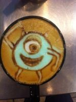 Mike Wazowski Latte by Coffee-Katie