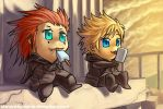 KH2: Chibi Axel and Roxas by ShiroiNeko-sama