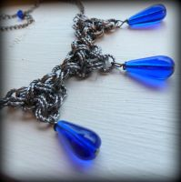 Chainmaille inspired necklace with blue glass by Lincey