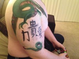 Arm/Chest Tattoo - Dragon Keeper - Full Side View by Obsidian-kNight