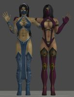 Kitana and Mileena by MKiss333
